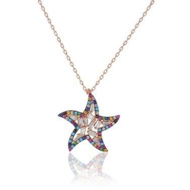 Söğütlü Silver Deniz Yıldızı Kolye Renkli